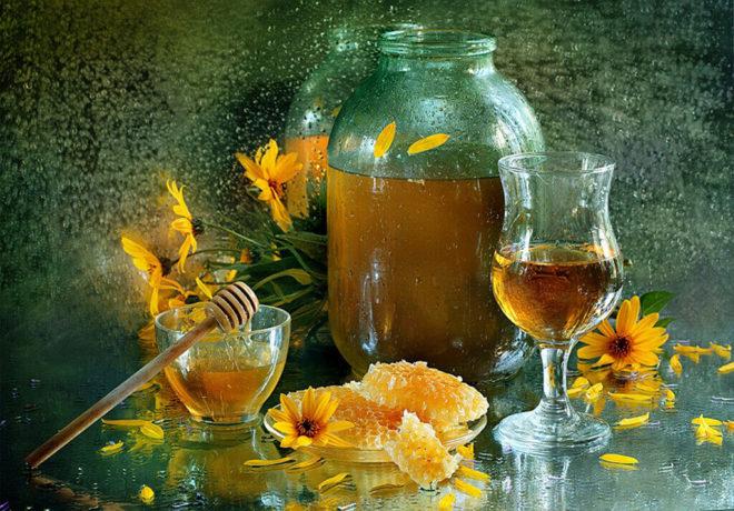 мед цветы банка настойка рюмка